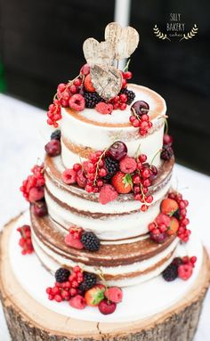 fall naked wedding cake with rustic birch heart cake topper