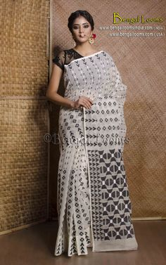 Pure Handloom Dhakai Jamdani Sari in White and Black