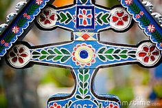 Beautifully painted cross in cemetery~Sapanta, Romania. Cross Art, Cemetery Art, A Level Art, Fashion Styles, Folk Art, Merry, Carving, Colorful, Illustrations