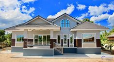 Affordable Two-bedroom Modern Bungalow for those who are on a Tight Budget - House And Decors One Floor House Plans, Modern House Plans, Modern House Design, Bungalow Haus Design, Modern Bungalow House, Modern Style Homes, Style At Home, Modern Architectural Styles, One Storey House