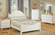Twin Size Bed – Cottage Style White Finish  http://www.furnituressale.com/twin-size-bed-cottage-style-white-finish/