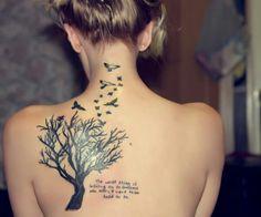 Beautiful tree and birds tattoo