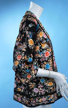 Image detail for -Vintage chinese colorful hand embroidered silk Canton jacket