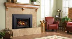 Classically styled wood burning insert featuring the latest in double burn technology, this high-efficiency wood insert is perfect for small fireplaces. Wood Burning Insert, Gas Insert, Wood Insert, Vented Gas Fireplace Insert, Wood Burning Fireplace Inserts, Small Fireplace, Stove Fireplace, Ventilation System, Black Doors