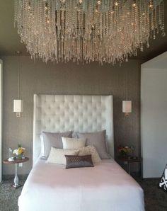 Chic. Bedroom. Chandelier. Lighting