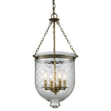 View the Z-Lite 136-28 Traditional / Classic 4 Light Up Lighting Foyer Pendant with Glass Urn Shade from the Tudor Collection at LightingDirect.com.