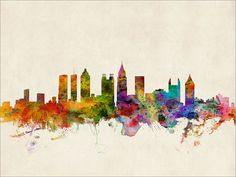 Atlanta Skyline Atlanta Georgia Cityscape Art Print by artPause Acrylic Wall Art, Canvas Wall Art, Wall Art Prints, Canvas Prints, Atlanta Skyline, Cityscape Art, Skyline Art, Gloss Matte, Atlanta Georgia