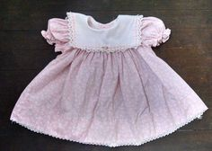 Vtg Peaches N Cream Baby Girl Dress 3-6M Pink Floral White Collar Lace Ribbon #PeachesNCream #Party #Party