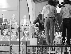 Apollo 11 astronauts (from left) Neil Armstrong, Michael Collins and Buzz Aldren reunited at the National Air and Space Museum for a filming session to celebrate the 20th anniversary of the July 1969 landing. Smithsonian Institution Archives photo by Richard Strauss (89-9403-19)