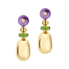 "Bulgari ​""Mediterranean Eden"" 18k Gold & Gem-Set Drop Earrings / ""Mediterranean Eden"" drop earrings in 18kt yellow gold, with amethyst, peridot and diamond. Diamonds weighing 0.13 total carats. With omega-style clip backs and posts. Handmade in Italy. Designed by Bulgari."