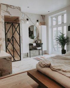 "☆""A bedroom-bathroom story"" 💭 Loft Interior Design, Bathroom Inspiration, Bathroom Ideas, Oversized Mirror, Tiles, House Design, Bedroom, Furniture, Instagram"