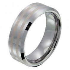 tungsten men's wedding ring with gold stripes