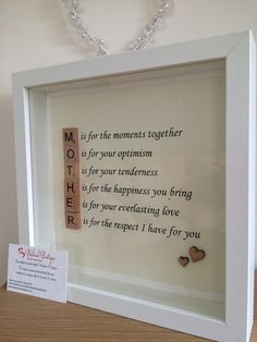 Stunning Mothers Day frame Can be changed to any verses you like Makes a beautiful keepsake for a special Mum Please look at my other items