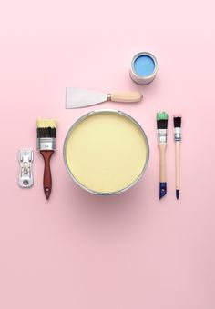 Alcro campaign.  Keywords: paint, brush, dining, pink, still life, still life photography, set design
