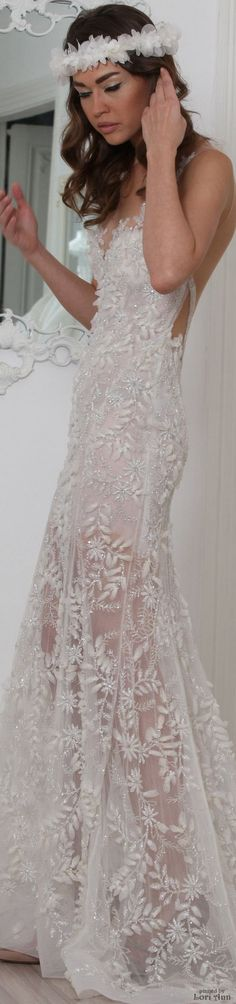 Maison Roula Bridal Spring 2016. I want this, but not so sheer on the bottom. I love the appliqué and lace on this!