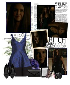 A fashion look from June 2017 featuring plunge dresses, leather pumps and long leather wallet. Browse and shop related looks. Vampire Diaries Outfits, Katherine Pierce, Fashion Show, Fashion Outfits, Elena Gilbert, Vampire Dairies, Laura Mercier, Nikon, Balenciaga