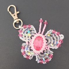 Purse Charm Key Chain Pink and Clear AB Beaded Butterfly Key