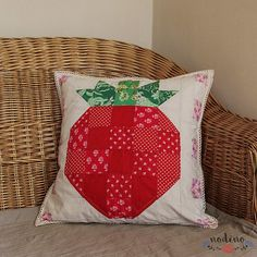 Patchwork Pillow, Pillow Cases, Sewing Projects, Cotton Fabric, Strawberry, Delicate, Throw Pillows, Homemade, Terrace