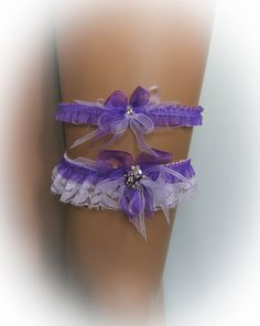 White and Purple Lace Wedding Garter Set with a by SarayaWeddings