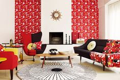 """Tuppence Ha'penny: Sanderson Fabric & Wallpaper Sanderson have released a fabulous new range in wallpapers and furnishing fabrics. The """"mobiles"""" design is classic iconic especially in this killer midcentury interior setting."""
