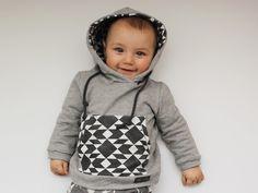Pullover - Bio Hoodie TRIBAL B&W ★ Kapuzenpullover Baby - ein Designerstück von louisundlola bei DaWanda