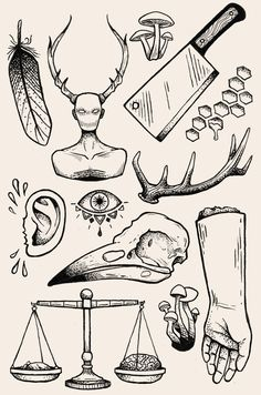 I did this Hannibal-themed flash sheet more as ink practice than with the intent to actually tattoo any of it, but in case anybody around Montreal/Toronto is interested in getting one of these, shoot me a message!