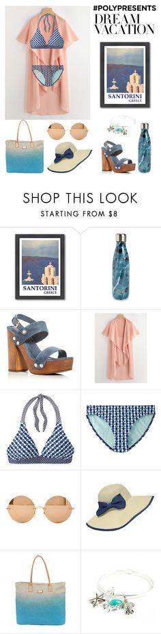 """Dream Vacation"" by ivymeadow ❤ liked on Polyvore featuring Americanflat, S'well, Joie, prAna, Victoria Beckham, WithChic, Sun N' Sand, Santorini and polyPresents"