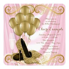 Womans Pink and Gold Birthday Party Glamour Satin Invitation 50th Birthday Party Invitations, 60th Birthday Party, Birthday Ideas, 50th Party, Pink And Gold Birthday Party, Gold Party, Golden Birthday, Masquerade Party Centerpieces, Cheetah Party