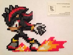 Shadow the Hedgehog Perler Bead Sprite by RatedEforEveryone