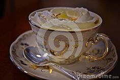 Close up view of cup of coffee in Zsolnay porcelain