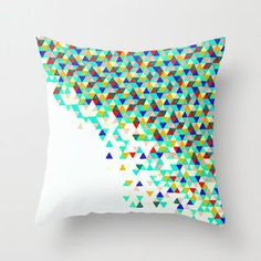 Colorful Throw Pillow - Green Funfetti - Neon $30 Etsy byu Abstract Graph Designs