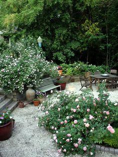 Gypsy Purple: Garden Finds: The garden of Susan Serra Dream Garden, Garden Art, Big Garden, Garden Roses, Garden Landscape Design, Garden Landscaping, Back Gardens, Outdoor Gardens, Sunken Garden