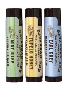 Delicious, southern-scented beeswax Tupelo Honey, Earl Grey, and Mint Julep lip balms. No petroleum or parabens! 3 pack for $10.00
