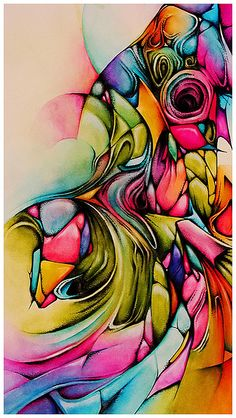 Gorgeous abstract watercolor and ink piece.