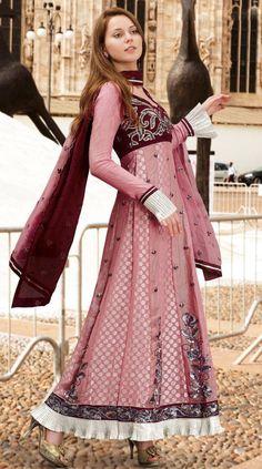 $92.44 Burgundy And Pink Full Sleeve Brocade Designer Salwar Kameez 13024