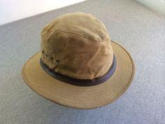 Vtg FILSON Hat Dark Tan Tin Cloth Genuine Garment Packer Bonded Leather Custom L #Filson #Packer