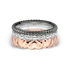 Zales Stackable Expressions Three Piece Multi-Color Ring Set in Sterling Silver YgbDGk