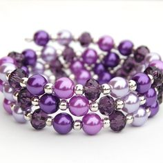 Sparkling Purple Pearl Memory Wire Bracelet, Spring Accessory, Bridesmaid Jewelry, Evening Accessory, Pearl Bracelet