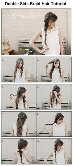 How to make Double Side Braid For Hair, Hair Tutorial Side Braid Hairstyles, My Hairstyle, Pretty Hairstyles, Wedding Hairstyles, Perfect Hairstyle, Kid Hairstyles, Natural Hairstyles, Side Braid Tutorial, Diy Braids