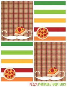 food tents, printable party, pizza party, printable party decor, pizza, pizza party invites via Party Box Design