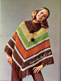 Vintage Poncho PDF crochet pattern  digital download crochet