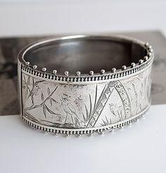 Aesthetic Movement Silver Bracelet c1880, $550.00
