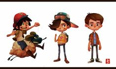 These are some cute characters by Ahmad Beyrouthi. They have their own facial expressions and features, and clothing styles and designs overall. I like how you can tell that each is his own individual.