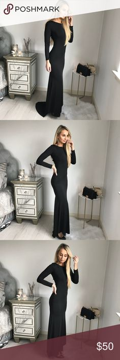 Long Black Elegant Dress Long Black Elegant Dress, With a Small Train Uknown Dresses Maxi