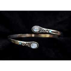 Rainbow Moonstone armlet, arm cuff, stone armlet, upper arm cuff,... ($25) ❤ liked on Polyvore featuring jewelry, bracelets, silver jewelry, silver stone jewelry, blue bangles, red bangles and silver jewellery