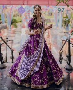 Purple / violet colour embroidery work lehenga choli with stripes stylish dupatta Ghagra choli chaniyacholi indian bride dress Indian Lehenga, Sabyasachi Lehenga Bridal, Lehenga Choli Wedding, Lehenga Style, Bridal Lehenga Choli, Red Lehenga, Lehenga Dupatta, Alia Bhatt Lehenga, Purple Lehnga