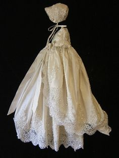 Angela West Christening gown set ORIANA II with cascade coat size TBD ivory  bonnet,booties,bib,blanket , bloomers and custom monogram on Etsy, $498.00