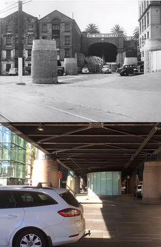 The East Circular Quay railway portal/air raid shelter with pylons in place ready for the viaduct in circa 1943 and the same view from under the completed viaduct in 2016. [circa 1943 - Sydney City Archives>2016 - Phil Harvey. By Phil Harvey]