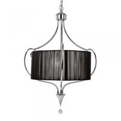 2743-3CC 3 Light Chrome Ceiling With Black String Shade
