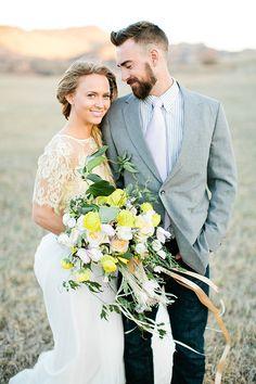 Lace Wedding Dress and Yellow Bouquet | Callie Hobbs Photography | Bohemian Desert Wedding Shoot in Colorado